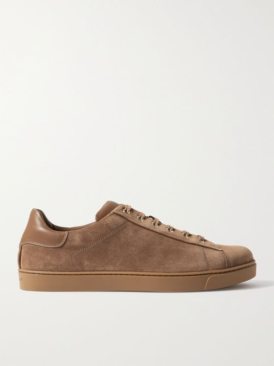 GIANVITO ROSSI Leather-Trimmed Suede Sneakers