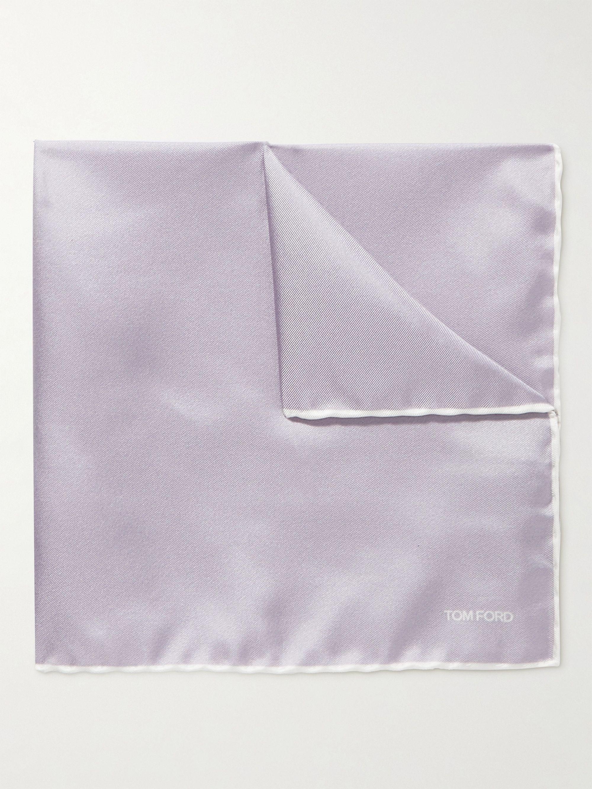 톰 포드 포켓 스퀘어 Tom Ford Contrast-Tipped Silk-Twill Pocket Square,Purple