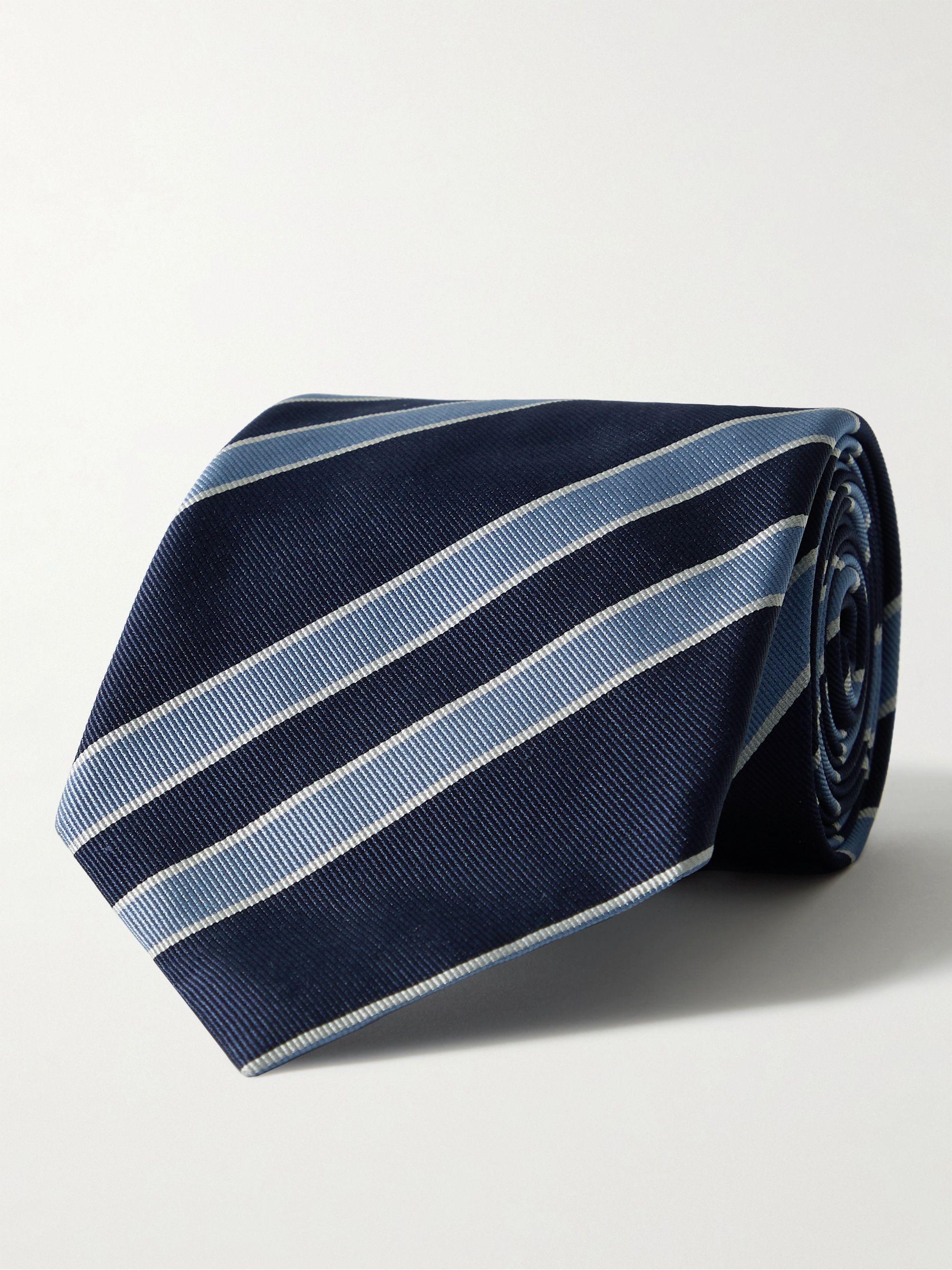 톰 포드 넥타이 Tom Ford 8cm Striped Silk-Faille Tie,Blue