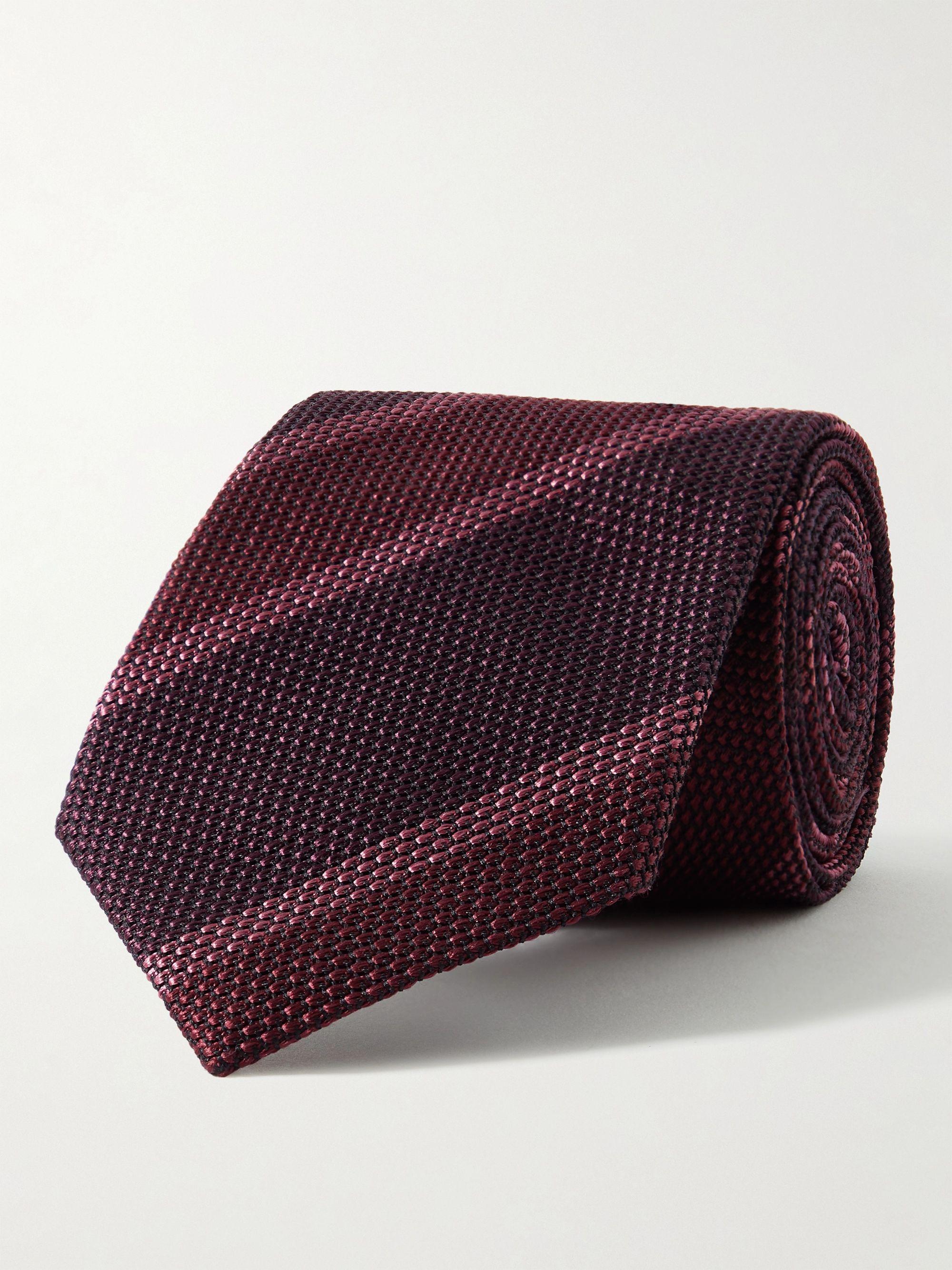 톰 포드 넥타이 Tom Ford 8cm Striped Textured-Silk Tie,Red