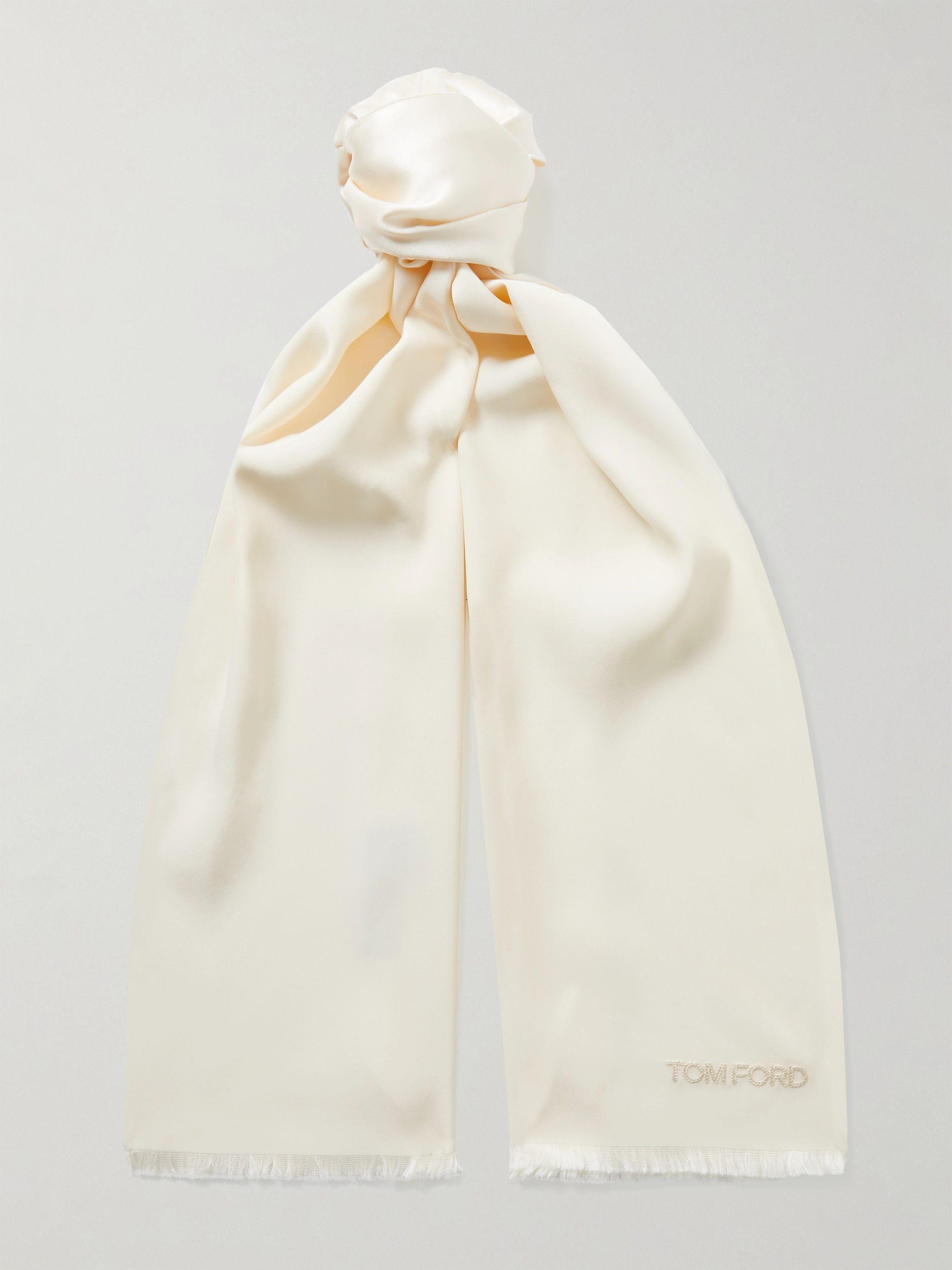 톰 포드 스카프 Tom Ford Fringed Logo-Embroidered Silk Scarf,Cream