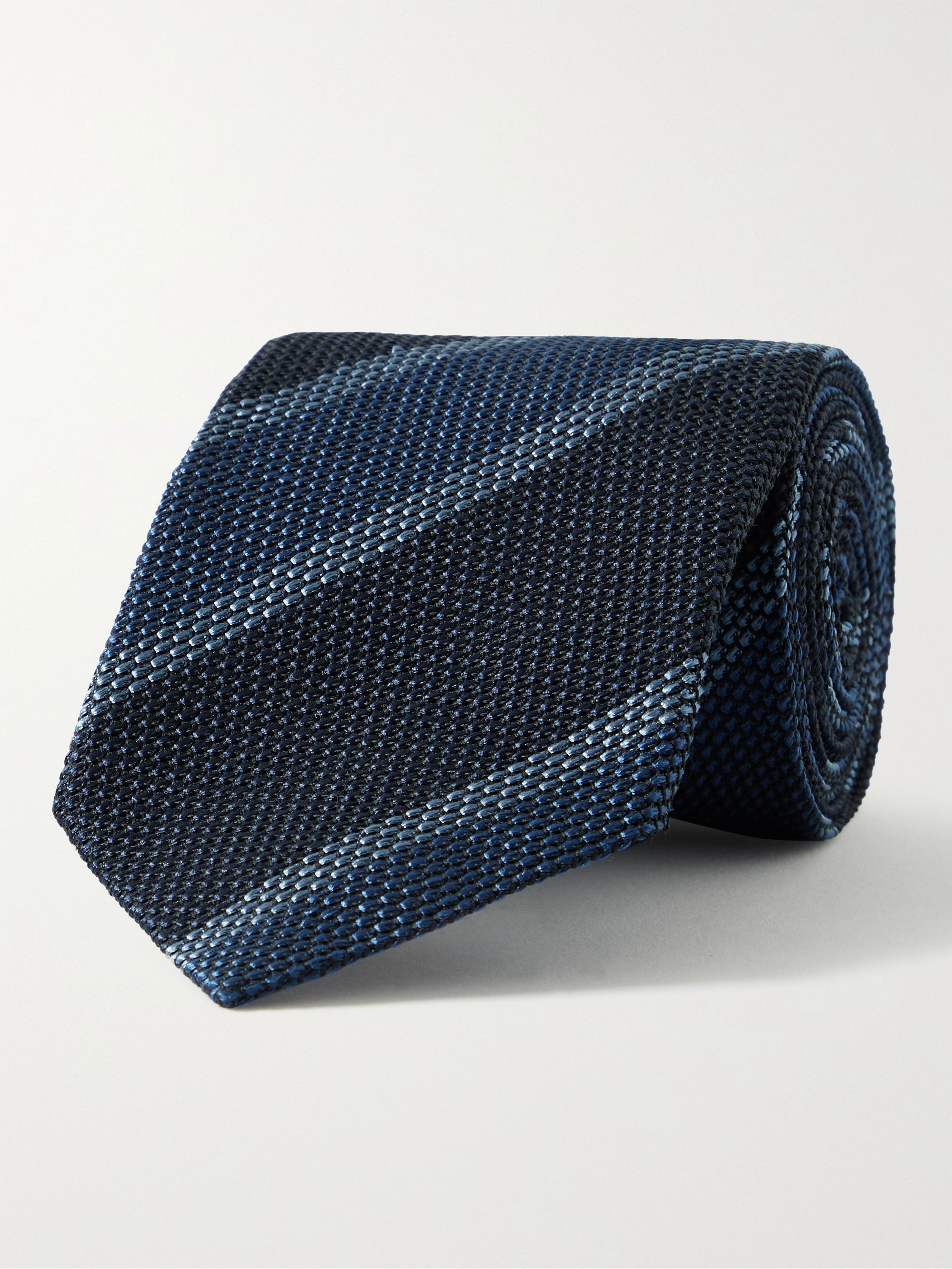 톰 포드 넥타이 Tom Ford 8cm Striped Textured-Silk Tie,Blue