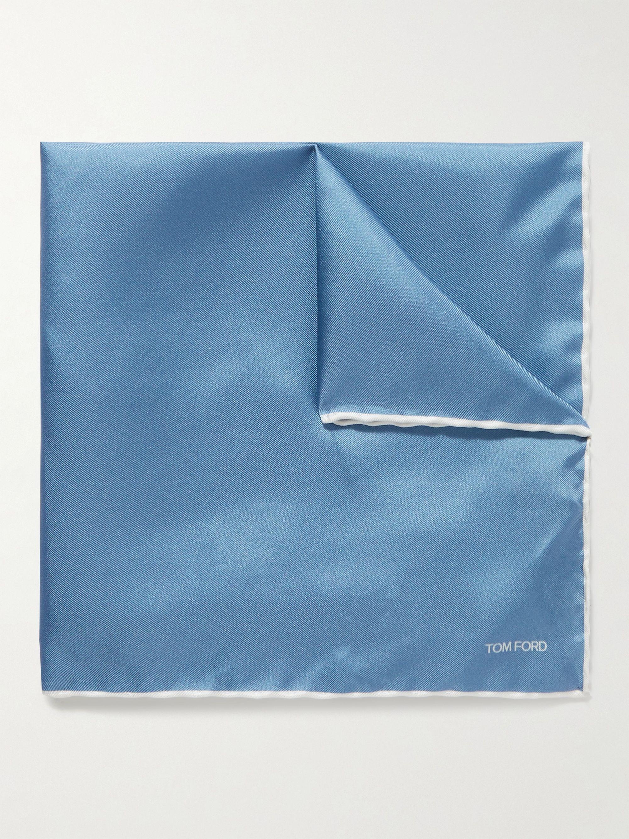 톰 포드 포켓 스퀘어 Tom Ford Contrast-Tipped Silk-Twill Pocket Square,Blue