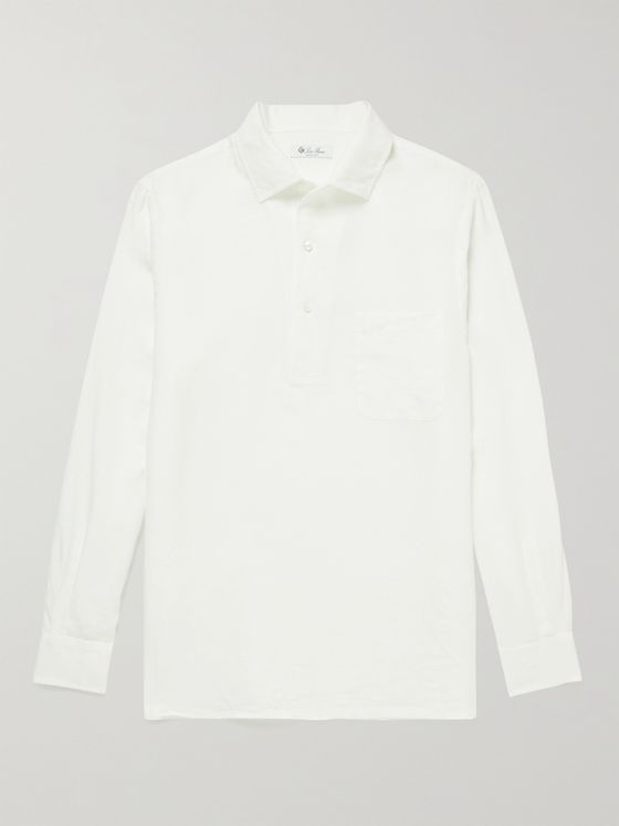 LORO PIANA Andre Linen Half-Placket Shirt