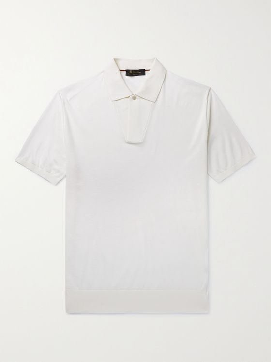 LORO PIANA Slim-Fit Cotton and Silk-Blend Polo Shirt