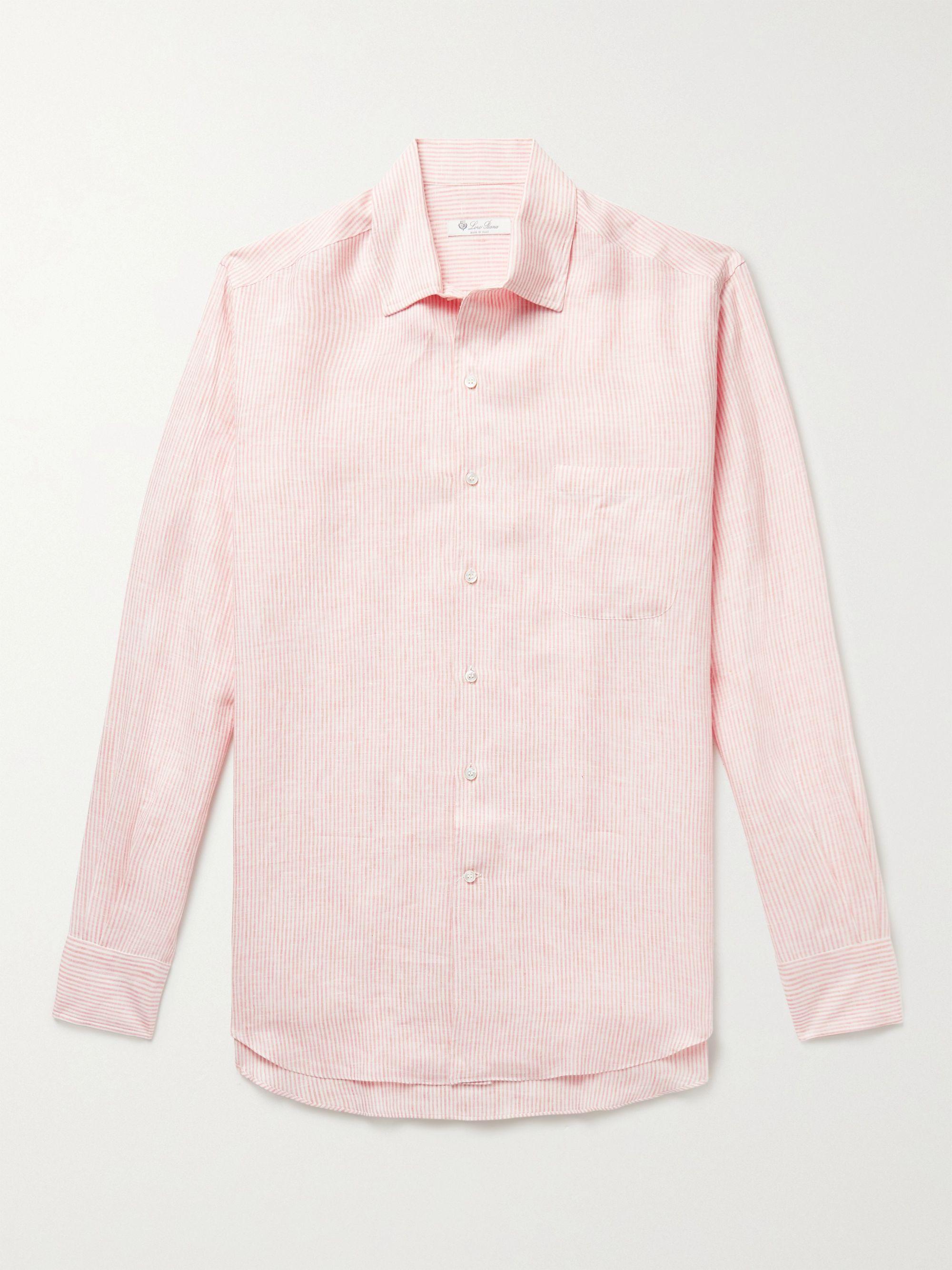 LORO PIANA Striped Linen Shirt,Pink