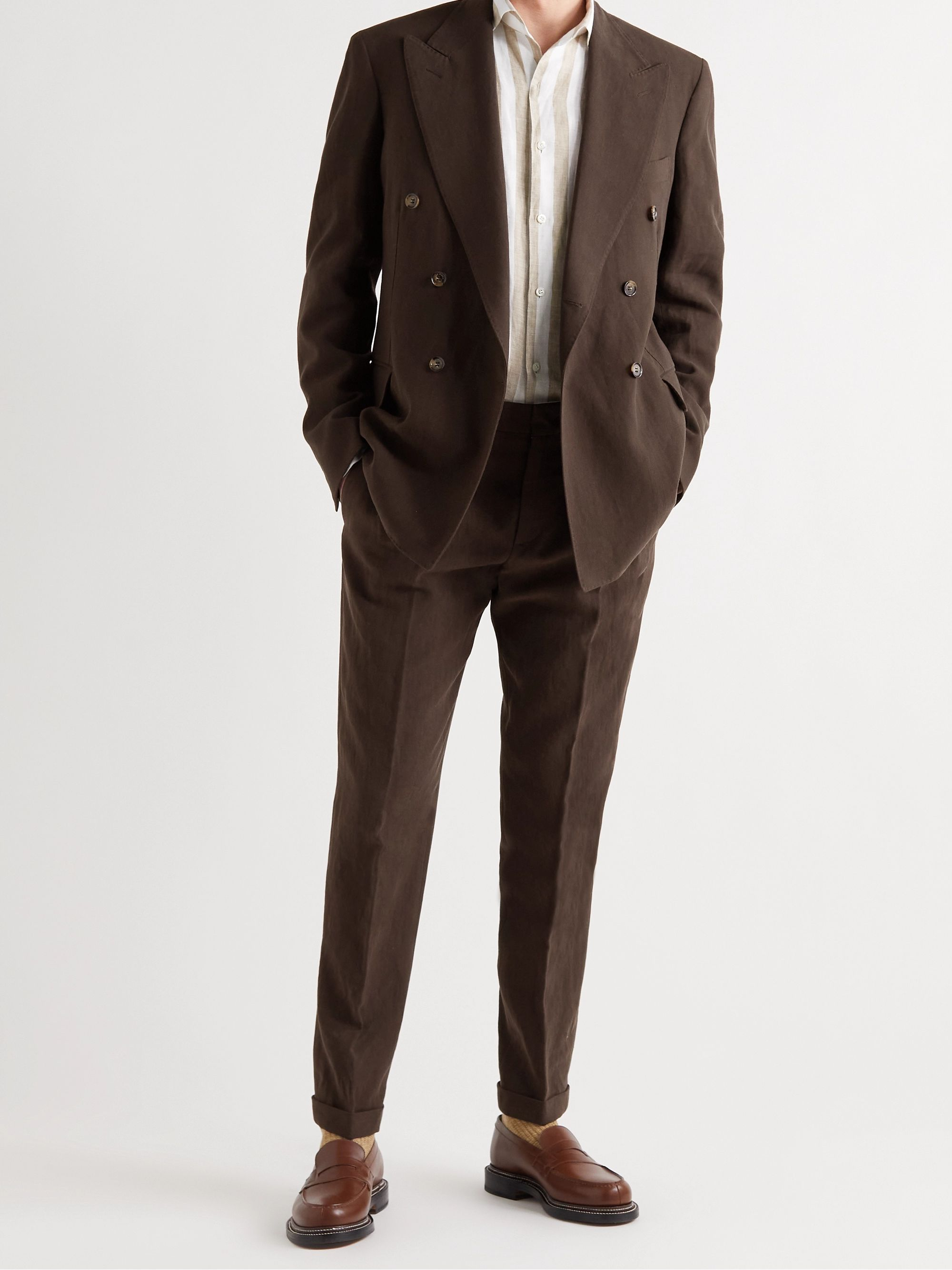 LORO PIANA Slim-Fit Tapered Pleated Linen Suit Trousers