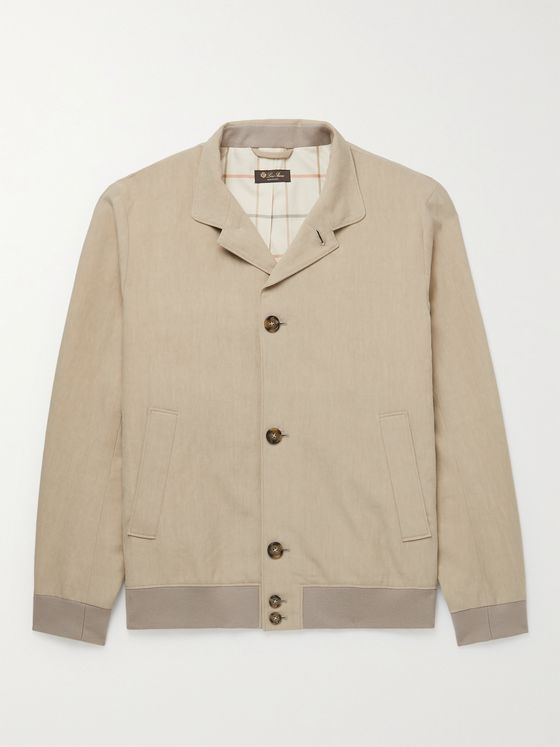 LORO PIANA Camp-Collar Linen Bomber Jacket