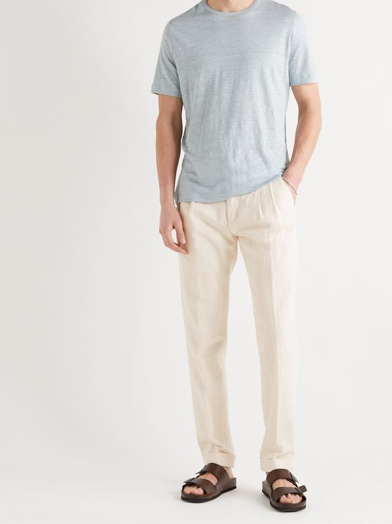 LORO PIANA Slim-Fit Tapered Pleated Cotton and Linen-Blend Trousers