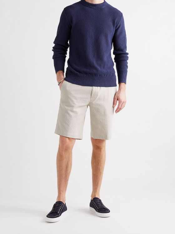 LORO PIANA Striped Cotton-Blend Seersucker Drawstring Shorts