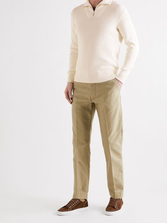 LORO PIANA Ribbed Cotton and Silk-Blend Half-Zip Sweater