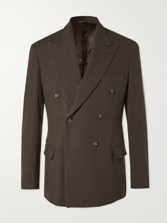 LORO PIANA Double-Breasted Rain System Linen Suit Jacket