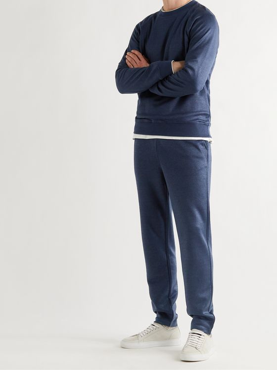LORO PIANA Tapered Stretch Linen-Blend Sweatpants