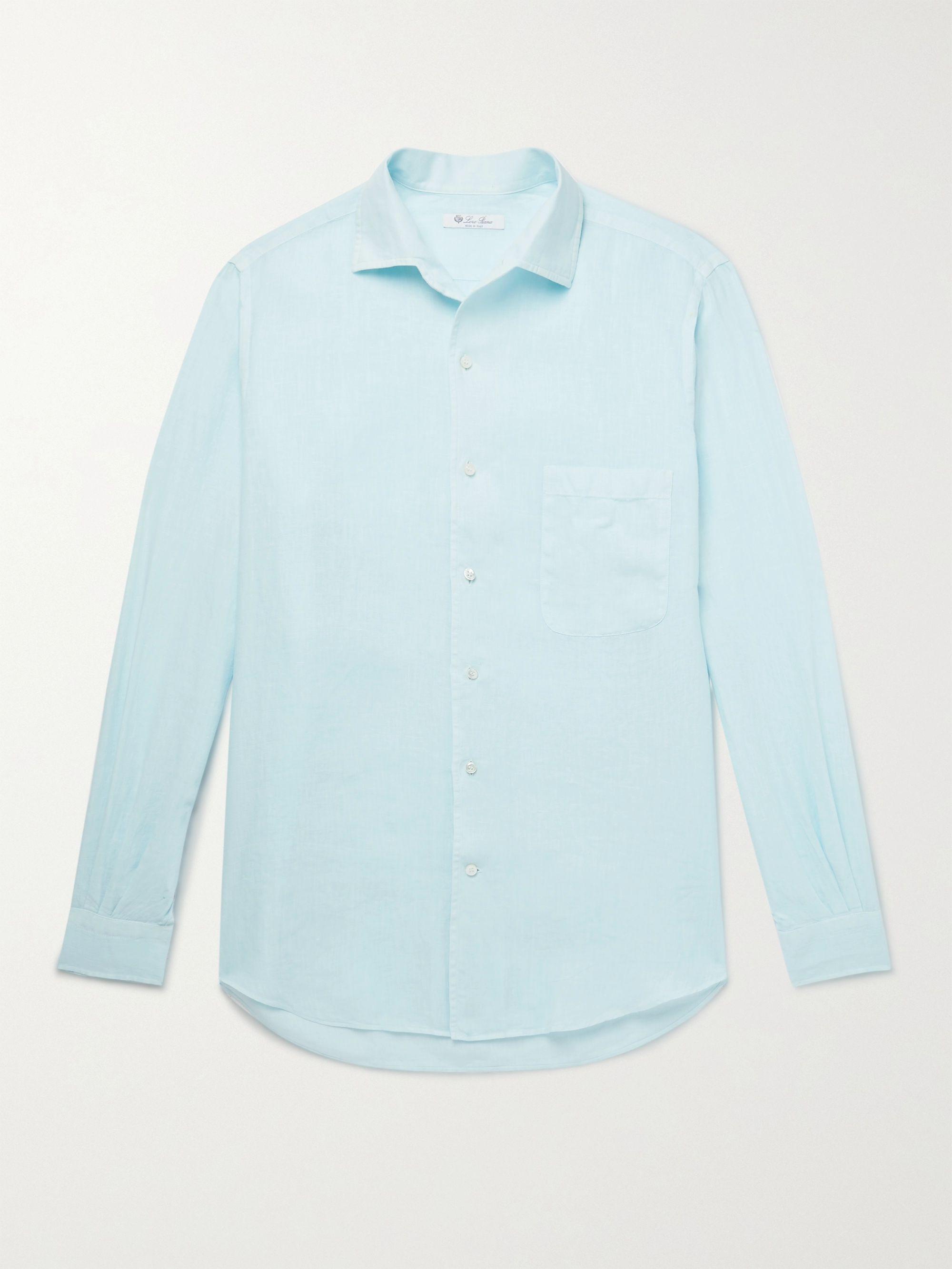 LORO PIANA Linen Shirt,Light blue
