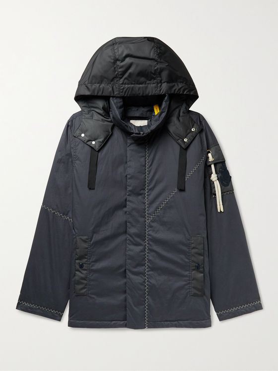 MONCLER GENIUS 1 Moncler JW Anderson Logo-Appliquéd Shell-Trimmed Cotton Down Hooded Jacket