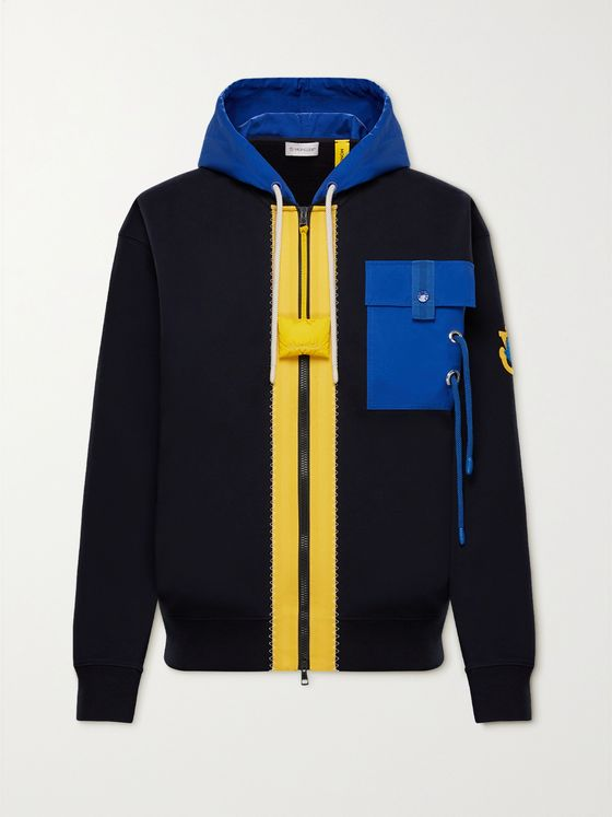MONCLER GENIUS 1 Moncler JW Anderson Canvas-Trimmed Cotton-Jersey Zip-Up Hoodie