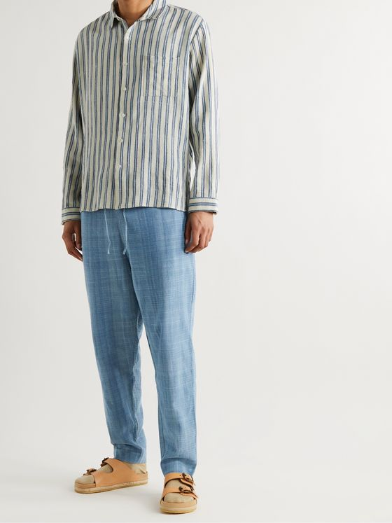 11.11/ELEVEN ELEVEN Tapered Striped Slub Cotton Drawstring Trousers