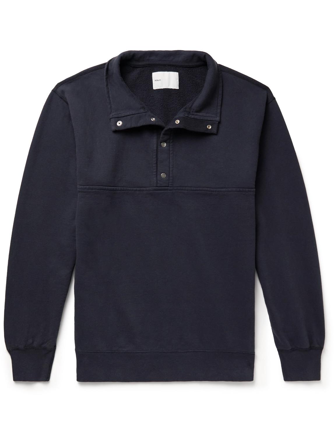 Adsum Cotton-jersey Half-placket Sweatshirt In Blue
