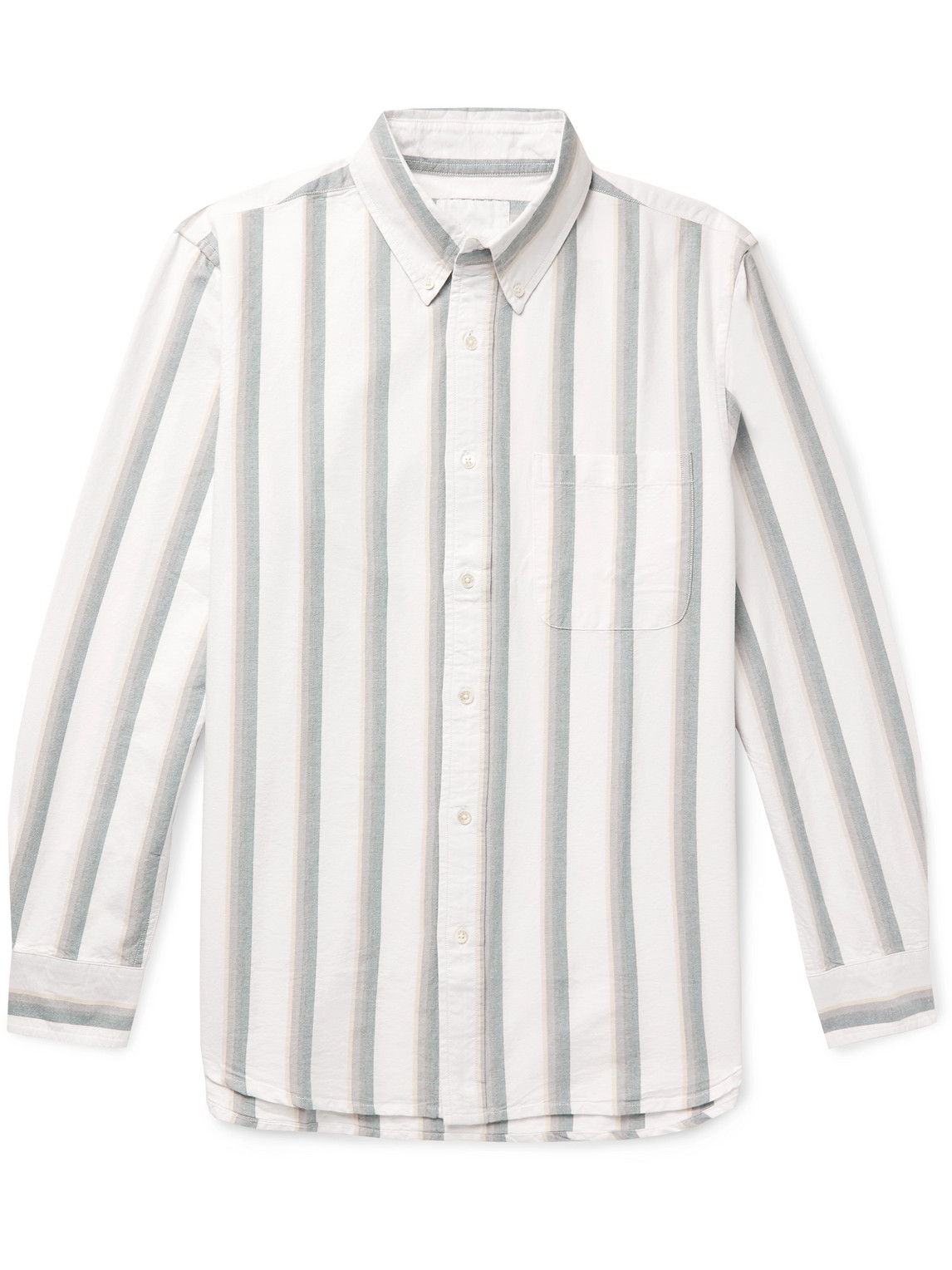 Adsum Button-down Collar Striped Cotton Oxford Shirt In White