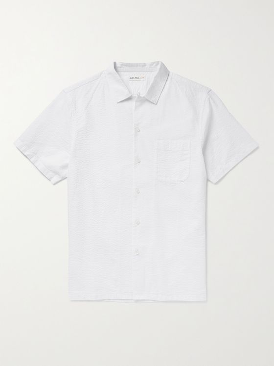 ALEX MILL Camp-Collar Cotton-Seersucker Shirt