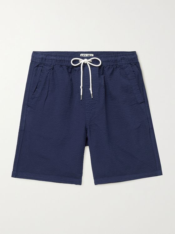 ALEX MILL Saturday Cotton-Seersucker Drawstring Shorts