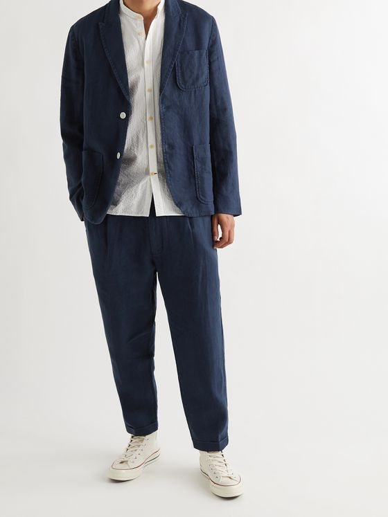 ALEX MILL Tapered Pleated Linen Suit Trousers