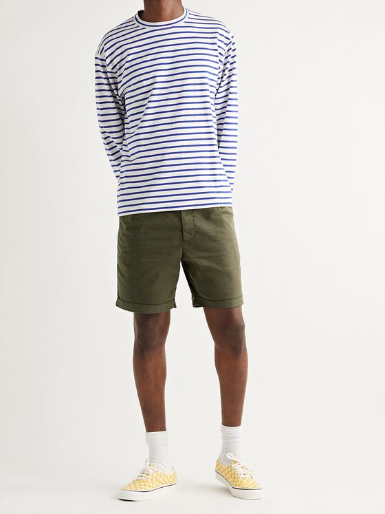ALEX MILL Pleated Stretch BCI Cotton-Twill Chino Shorts