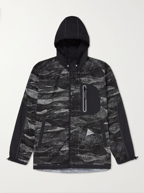 AND WANDER Printed Nylon Hooded Jacket