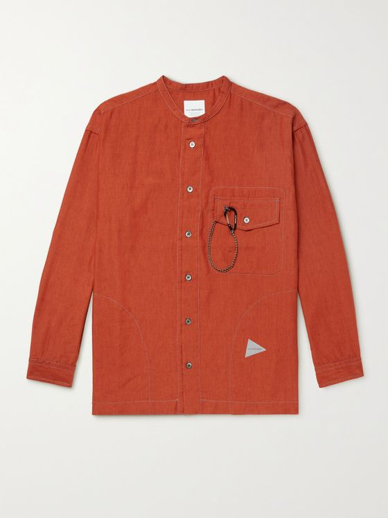AND WANDER Grandad-Collar COOLMAX Linen-Blend Shirt