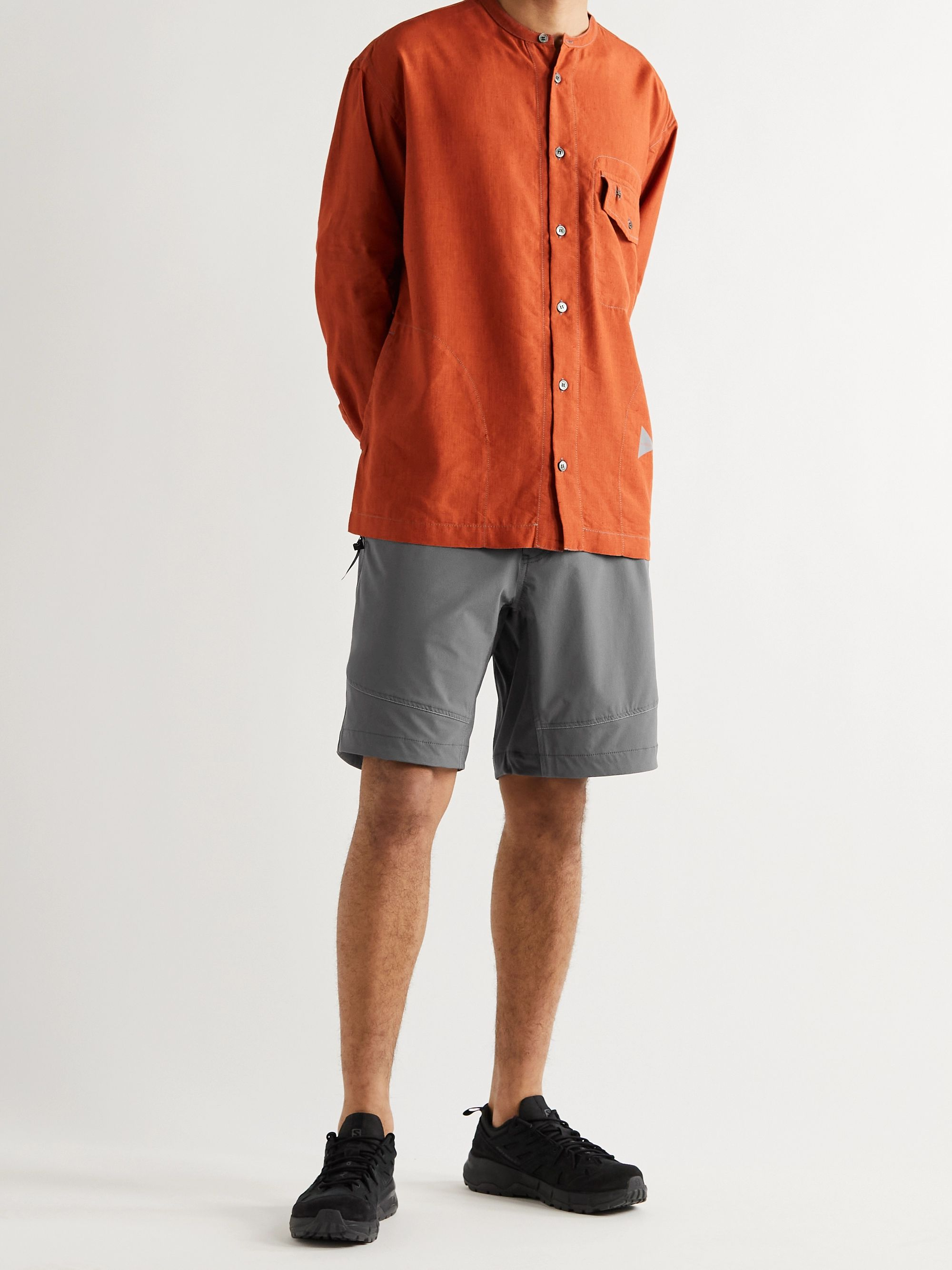 AND WANDER Wide-Leg Belted ZGRAV Shell Shorts