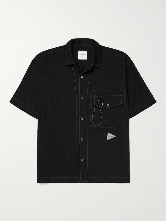AND WANDER Camp-Collar Logo-Print COOLMAX Linen-Blend Shirt