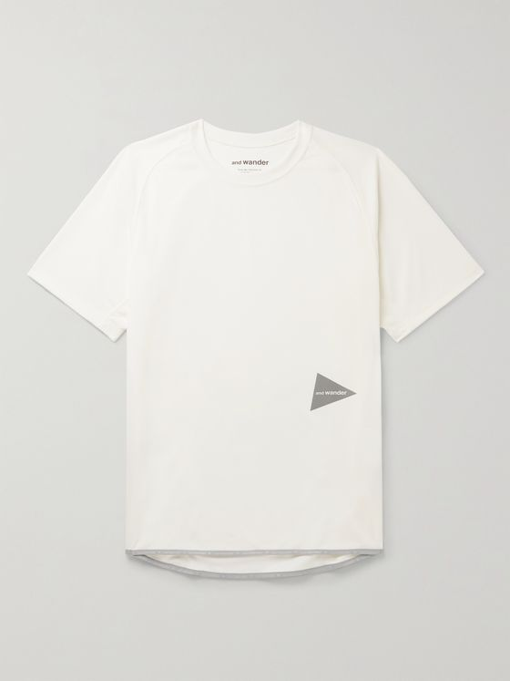 AND WANDER Logo-Print Power Dry Jersey T-Shirt