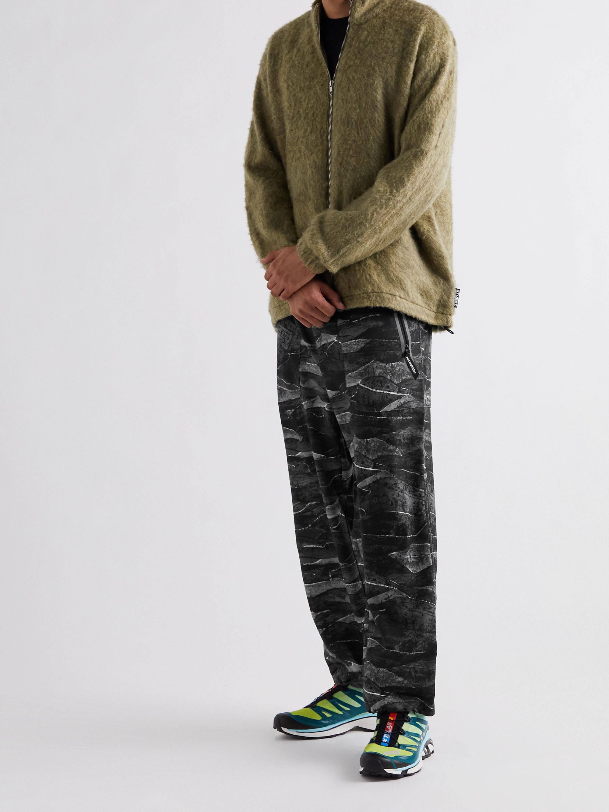 AND WANDER Belted Printed Woven Trousers