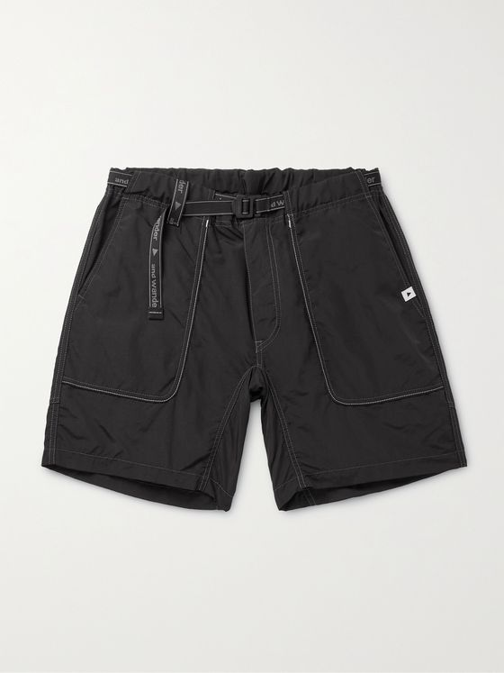 AND WANDER Belted Nylon Shorts