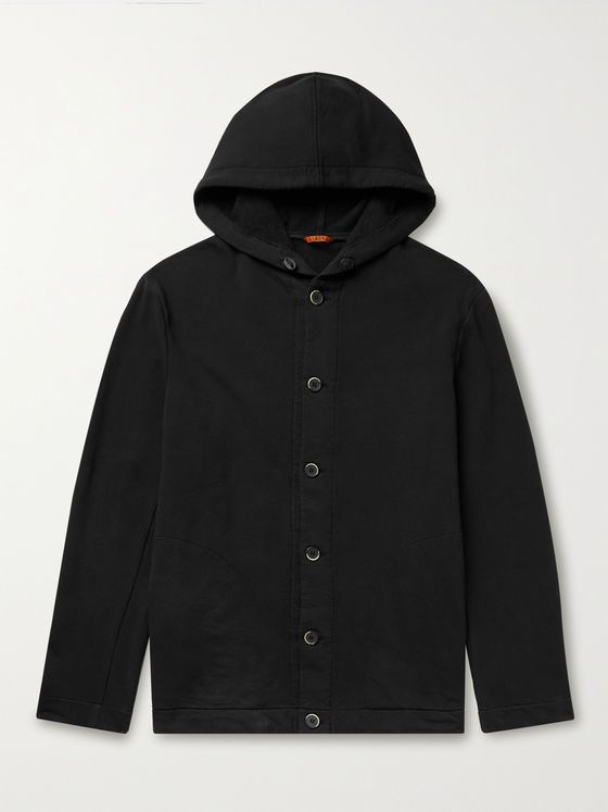 BARENA Cotton-Blend Jersey Hooded Jacket