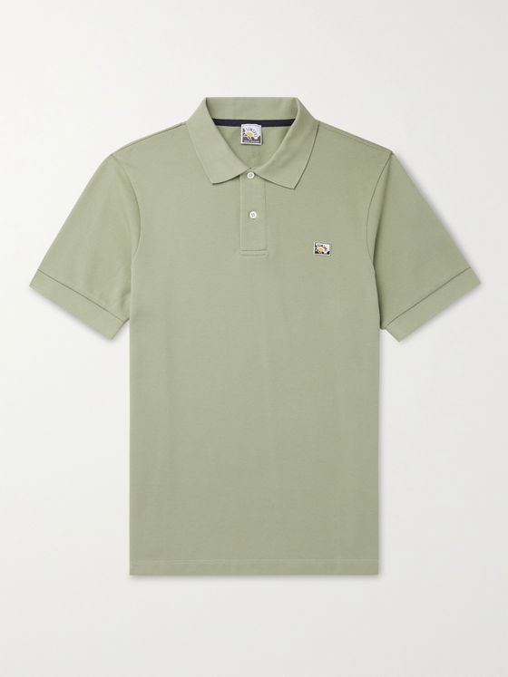 SUNSPEL + Paul Weller Logo-Appliquéd Cotton-Piqué  Polo Shirt