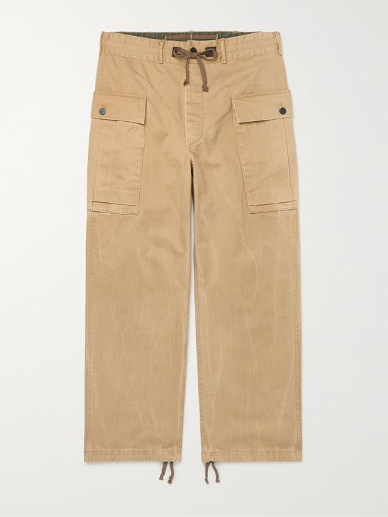 RRL Campbell Herringbone Cotton Drawstring Cargo Trousers