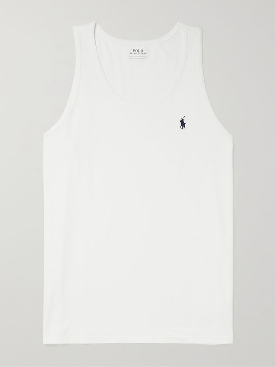 POLO RALPH LAUREN Logo-Embroidered Cotton-Jersey Tank Top