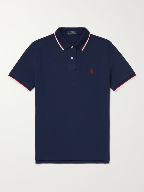 POLO RALPH LAUREN Slim-Fit Logo-Embroidered Contrast-Tipped Cotton-Piqué Polo Shirt