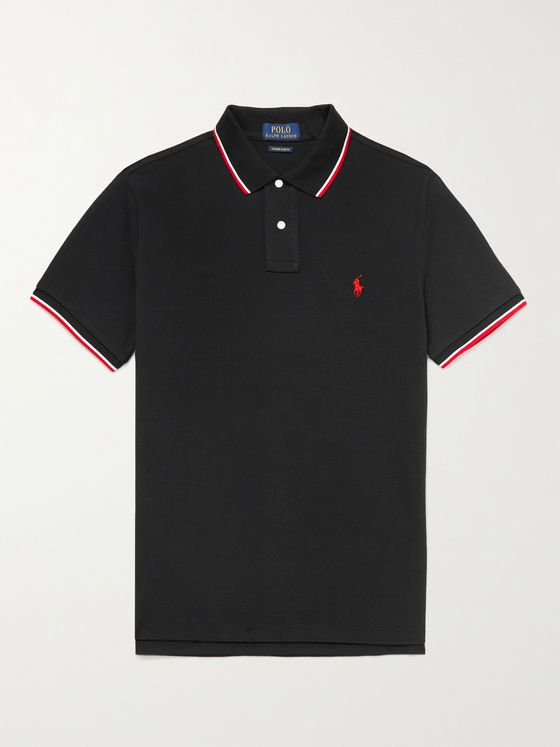 POLO RALPH LAUREN Slim-Fit Contrast-Tipped Cotton-Piqué Polo Shirt