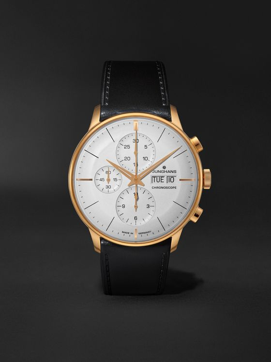 JUNGHANS Meister Chronoscope Automatic 41mm PVD-Coated Stainless Steel and Leather Watch, Ref. No. 027/7023.01