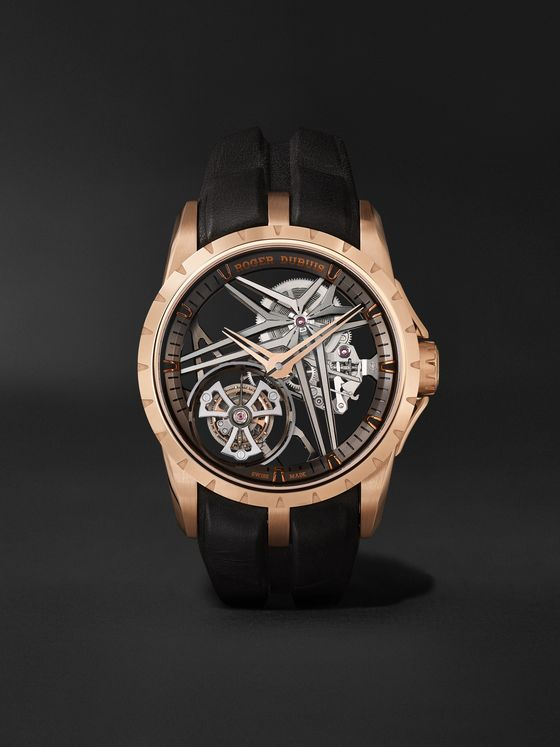 ROGER DUBUIS Excalibur Flying Tourbillon Limited Edition Automatic Skeleton 42mm 18-Karat Pink Gold and Leather Watch, Ref. No. DBEX0836BU22NOV