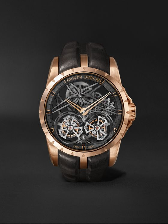 ROGER DUBUIS Excalibur 45 Double Flying Tourbillon Limited Edition Hand-Wound Skeleton 45mm EON Gold and Leather Watch, Ref. No. DBEX0818