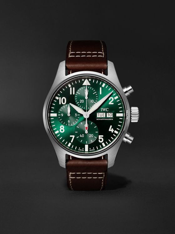 IWC SCHAFFHAUSEN Pilot's Automatic Chronograph 41mm Stainless Steel and Leather Watch, Ref. No. IW388103