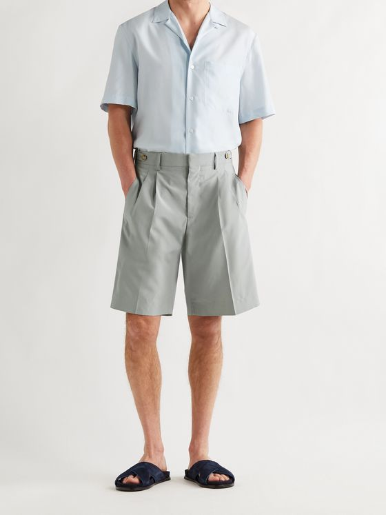 UMIT BENAN B+ Richard Pleated Silk Shorts