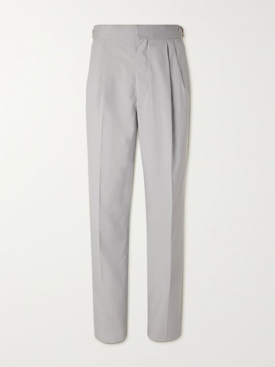 UMIT BENAN B+ Richard Tapered Pleated Silk-Twill Trousers