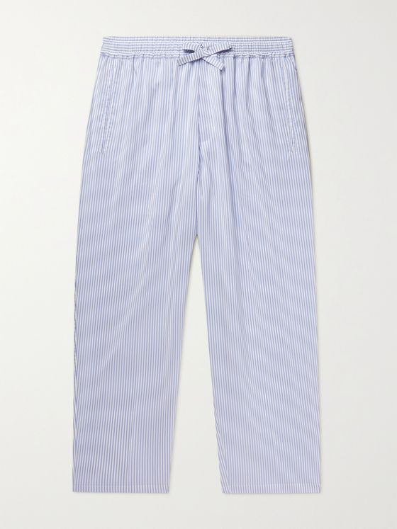 UMIT BENAN B+ Julian Striped Silk and Cotton-Blend Poplin Drawstring Trousers