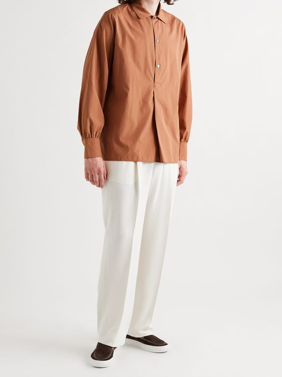 UMIT BENAN B+ Julian Cotton and Silk-Blend Half-Placket Shirt