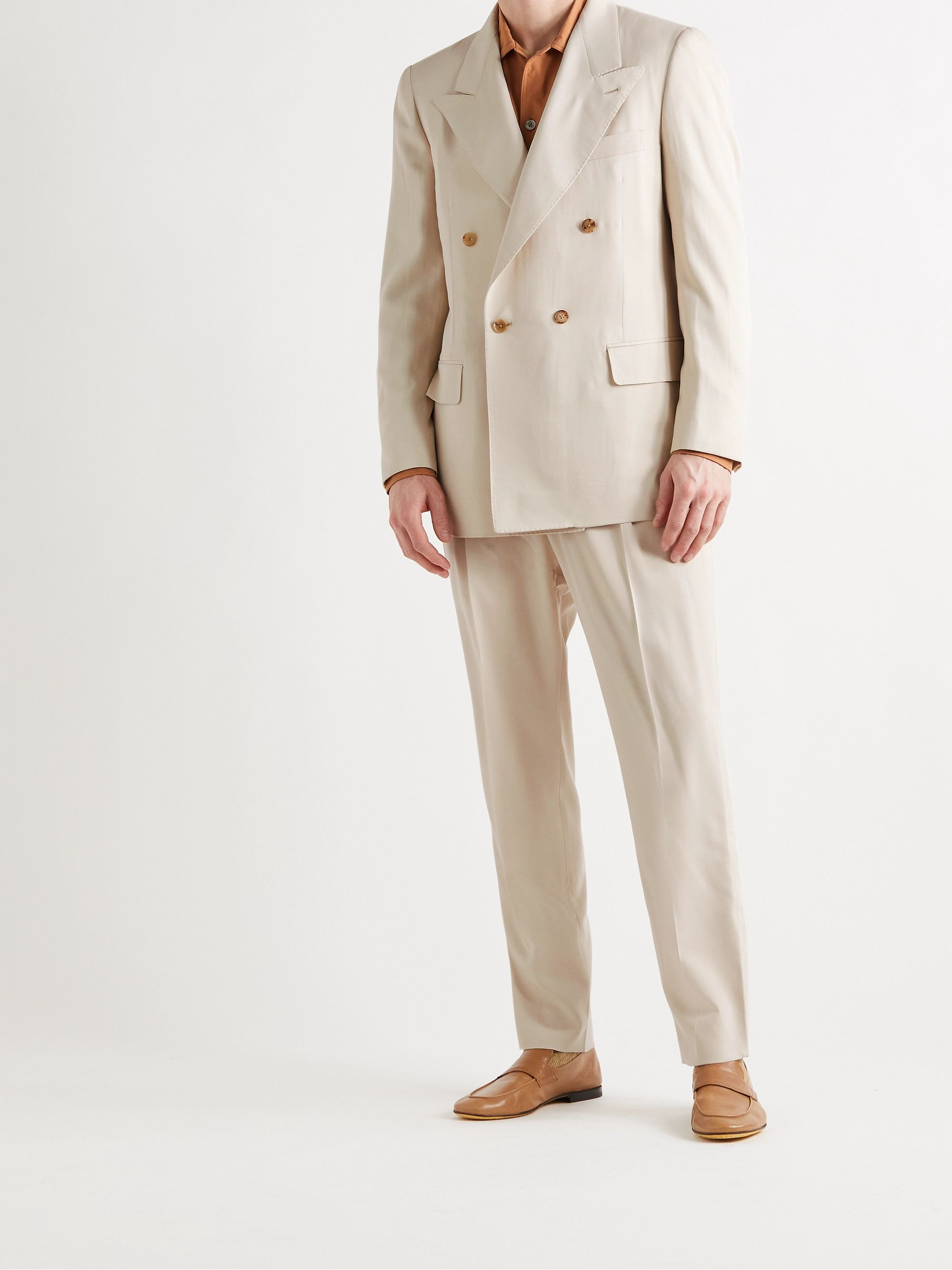 UMIT BENAN B+ Andy Double-Breasted Silk-Twill Suit Jacket