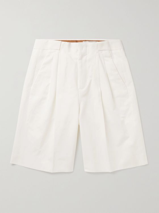UMIT BENAN B+ Roberts Pleated Cotton and Linen-Blend Shorts